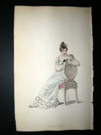 Ackermann 1815 Hand Col Regency Fashion Print. Evening Dress 13-3